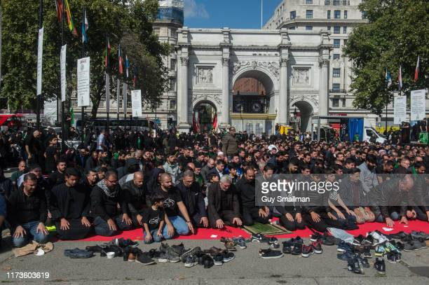 Prayers are led at Marble Arch by an Imam to mark Ashura at Hyde Park on September 10 2019 in London England Ashura is the mourning event to mark the...