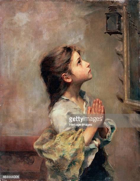 'Praying Girl' Italian painting of 19th century Ferruzzi Roberto Found in the collection of the M Kroshitsky Art Museum Sevastopol