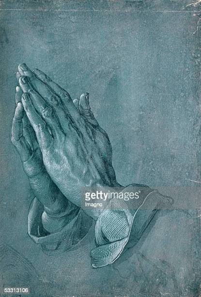 Praying Hands Point of brush and black ink heightened with white on blue prepared paper 1508 29 x 197 cm [Betende Haende Zeichnung 1508]