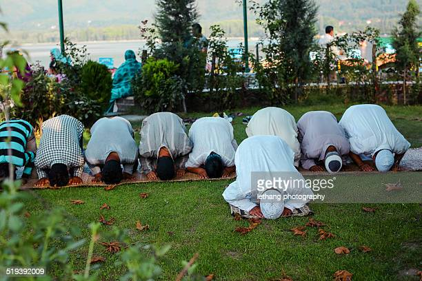 praying in the garden - kashmir stock photos and pictures