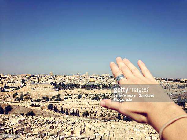 praying over jerusalem. - jerusalem old city stock pictures, royalty-free photos & images