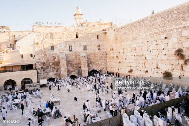 Praying people at the Western Wall