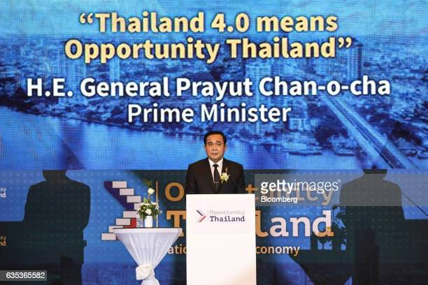 Prayuth ChanOcha Thailand's prime minister attends the Opportunity Thailand seminar in Bangkok Thailand on Wednesday Feb 15 2017 The seminar...