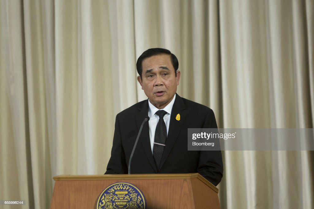 Prayuth Chan-Ocha, Thailand's prime minister, speaks during a news conference at Government House in Bangkok, Thailand, on Tuesday, March 21, 2017. Duterte returns to the Philippines on March 22. Photographer: Brent Lewin/Bloomberg via Getty Images