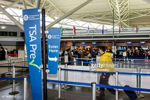 TSA Pre Check security checkpoint at John F Kennedy International Airport