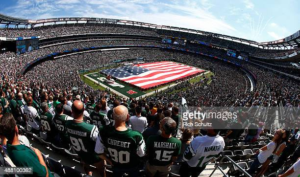 Pre game ceremonies before a game between the Cleveland Browns and the New York Jets at MetLife Stadium on September 13 2015 in East Rutherford New...