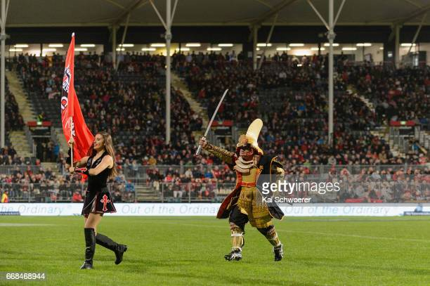 Pre match entertainment prior to the round eight Super Rugby match between the Crusaders and the Sunwolves at AMI Stadium on April 14 2017 in...