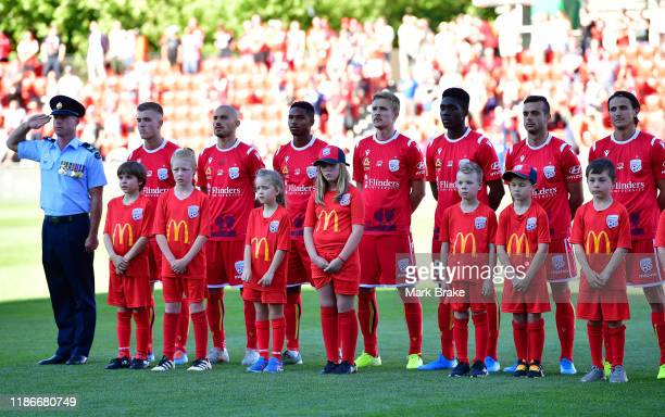 Pre match remembrance day ceremony before the Round 5 ALeague match between Adelaide United and Brisbane Roar at Coopers Stadium on November 10 2019...
