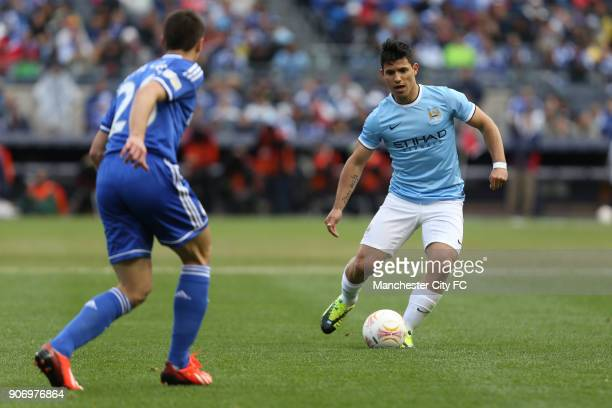 Pre Season Friendly Chelsea v Manchester City Yankee Stadium Manchester City's Sergio Aguero in action against Chelsea's Cesar Azpilicueta