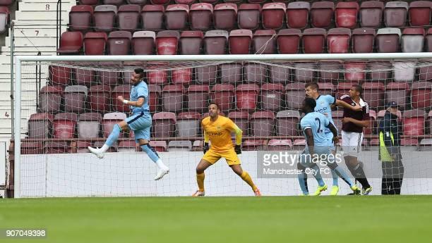 Pre Season Friendly Hearts v Manchester City Tynecastle Stadium Manchester City's Alvaro Negredo clears the ball