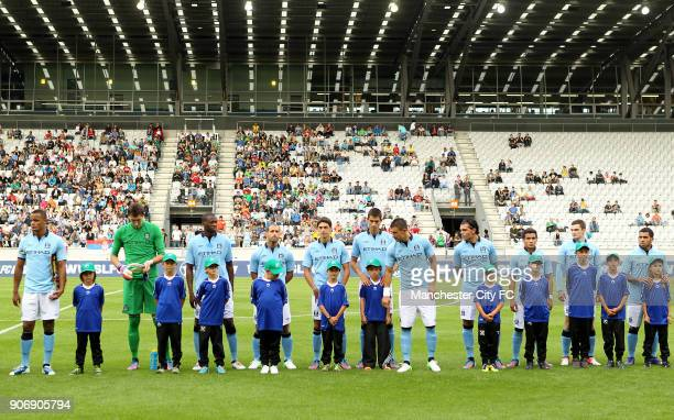 Pre Season Friendly Manchester City v Al Hilal Tivoli Neu The Manchester City players line up before kick off