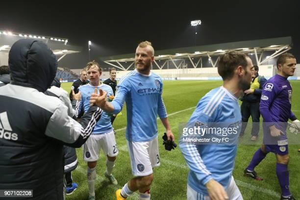 Pre Season Friendly New York City v St Mirren City Academy Stadium New York City FC's Adam Nemec with teammates after the game