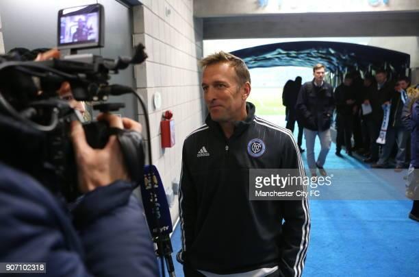 Pre Season Friendly New York City v St Mirren City Academy Stadium New York City FC manager Jason Kreis is all smiles after the game