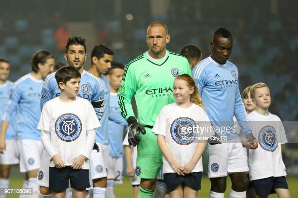 Pre Season Friendly New York City v St Mirren City Academy Stadium New York City FC's David Villa lines up with teammates before the game