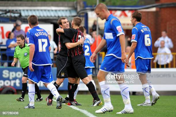 Pre Season Friendly, Stockport County v Manchester City, Edgeley Park, Manchester City's Ched Evans celebrates scoring his sides second equalising...