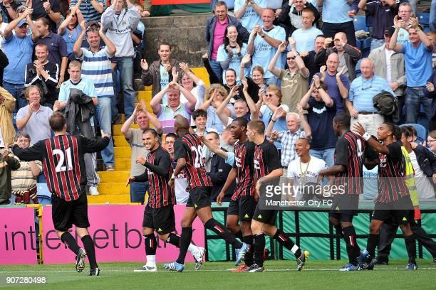 Pre Season Friendly, Stockport County v Manchester City, Edgeley Park, The Manchester City players celebrate after Valeri Bojinov equalises for...