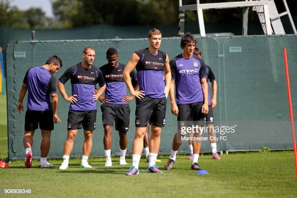 Pre Season Manchester City Training Carrington Training Ground Manchester City's Sergio Aguero Pablo Zabaleta Abdul Razak Edin Dzeko and Stefan Savic