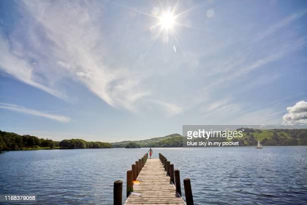 a pre teenage boy standing at the end of a jetty - pre season bildbanksfoton och bilder