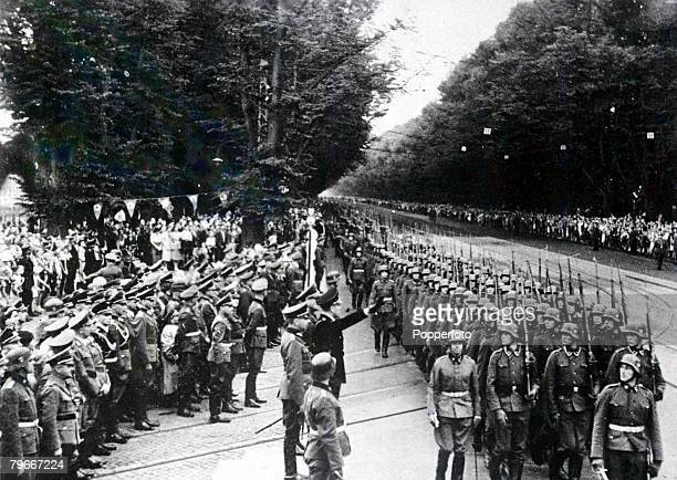 Pre World War Two 21st August 1939 Herr Albert Foerster taking the salute as the Heimwehr marched past at Danzig when the Nazis invaded Poland
