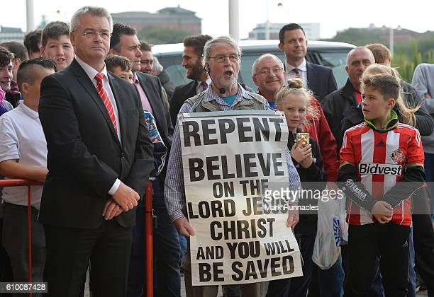 A preacher welcomes the teams prior to the Premier League match between Sunderland and Crystal Palace at the Stadium of Light on September 24 2016 in...