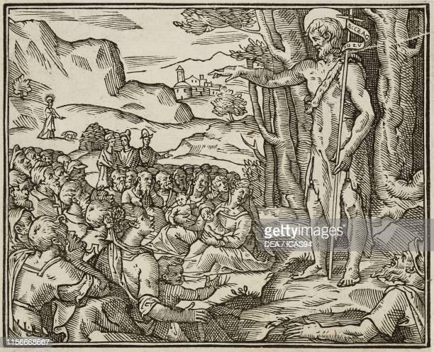 Preaching of John the Baptist, Gospel of Mark, engraving from Evangelia Arabice et Latine , Tipografia Medicea, Rome, 1591.