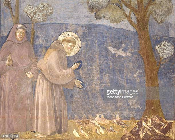 'Preaching to the Birds by Giotto 12971300 13th14th century fresco Italy Umbria Assisi Upper Basilica of St Francis Whole artwork view St Francis...