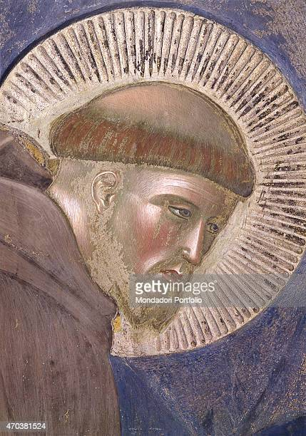 'Preaching to the Birds by Giotto 12971300 13th14th century fresco Italy Umbria Assisi Upper Basilica of San Francesco Detail Face of St Francis...