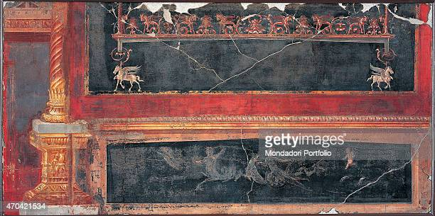 Preadella and Panel by unknown artist 4579 1st Century AD ripped fresco 90 x 180 cm Italy Campania Naples National Archaeological Museum Room LXVIII...