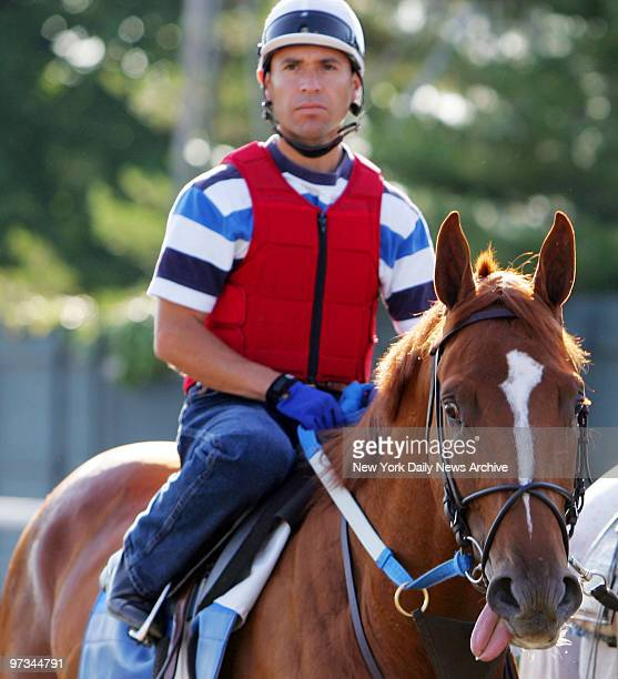 Preakness winner Curlin looks a bit tuckered as exercise rider Carmen Rojas rides him off the track at Belmont Park after a morning workout in...