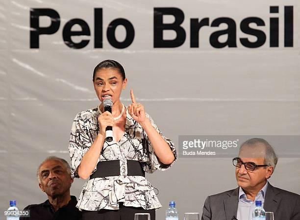 Pre-Candidate Marina Silva speaks during a conference to launch her campaign for the 2010 Presidential Elections at Casa de Shows Rio Sampa on May...
