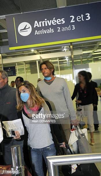 Precautions against swine flu virus at Nantes airport In Nantes France On May 01 2009Precautions against swine flu virus at Nantes airport un couple...