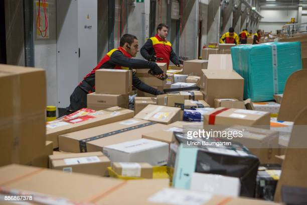 PreChristmas operation in the mechanical extradition base of the German Post DHL Group in Cologne DHL employees sort packages for extradition