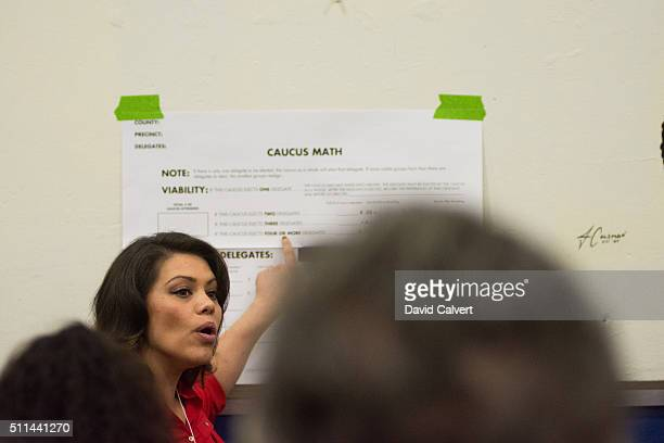Precinct chair and Nevada Assemblywoman Teresa BenitezThompson explains caucus math to caucus goers at Swope Middle School February 20 2016 in Reno...