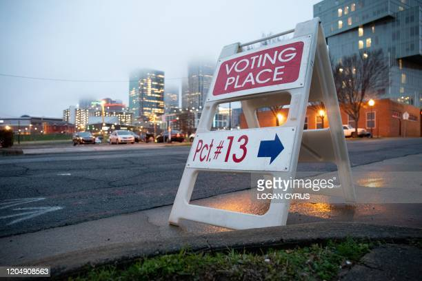 Precinct marker can be seen from the road near uptown Charlotte during the North Carolina primary on Super Tuesday in Charlotte, North Carolina on...