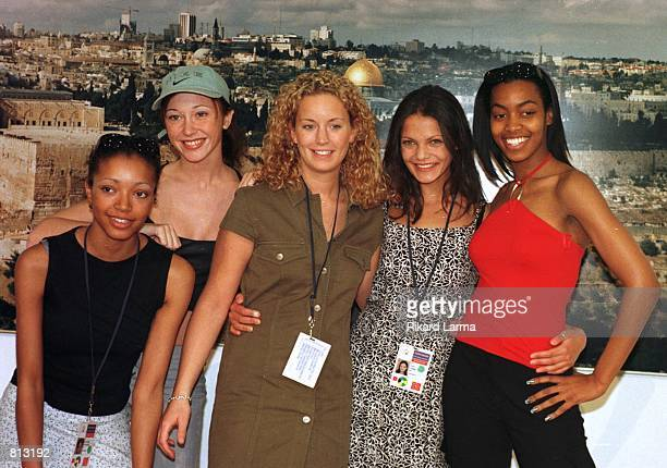 Precious a music group representing United Kingdom for the Eurovision Song Contest 1999 poses for photographers during a press conference in...