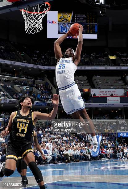 Precious Achiuwa of the Memphis Tigers dunks the ball against the Wichita State Shockers during a game on March 5 2020 at FedExForum in Memphis...