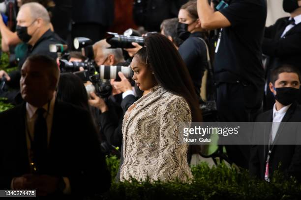 Precious Lee attends the 2021 Met Gala celebrating 'In America: A Lexicon of Fashion' at The Metropolitan Museum of Art on September 13, 2021 in New...