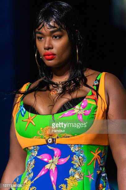 Precious Lee walks the runway at the Versace fashion show during the Milan Women's Fashion Week on September 25, 2020 in Milan, Italy.