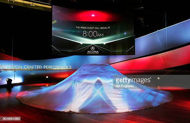 Precision Concept remains hidden prior to its reveal to the news media at the 2016 North American International Auto Show January 12 2016 in Detroit...