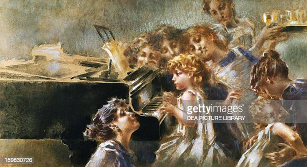 Precocious concert 18961897 by Luigi Conconi watercolour 475 x87 cm Italy 19th century