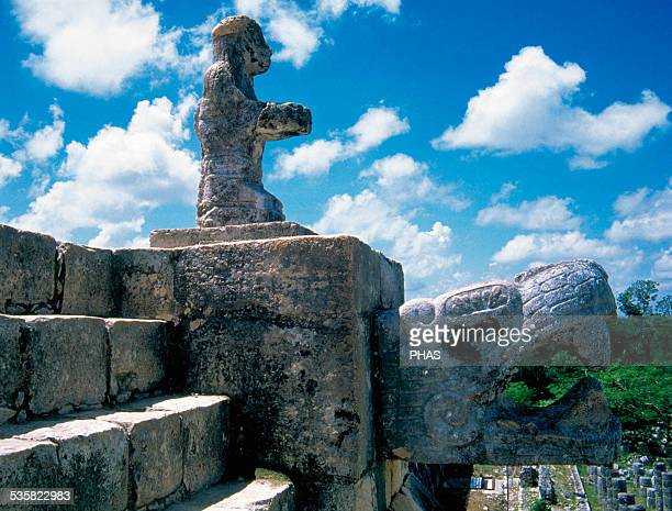 PreColumbian Art Maya Chac statue or an offeror on a Feathered Serpent It lies on the steps of the Temple of the Warriors MayaToltec style Classical...