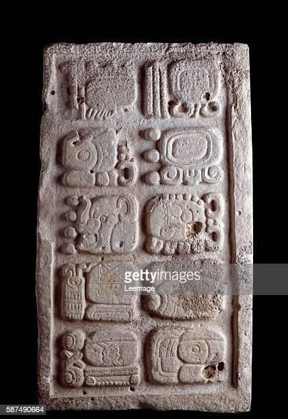 PreColumbian art Maya Civilisation Classic period fragment of a staircase presenting glyphs reliefs5x61 cm Guatemala Museo Nacional de Arqueologia y...