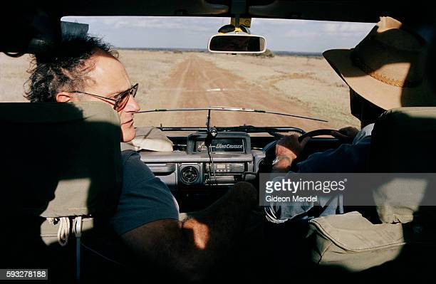 Predator biologist Laurence Frank drives with Claus Mortenson the manager of Mugie Ranch in the Laikipia District searching for a lion that has been...