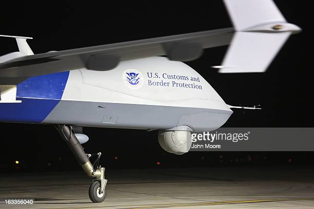Predator drone operated by US Office of Air and Marine taxis towards the tarmac for a surveillance flight near the Mexican border on March 7 2013...
