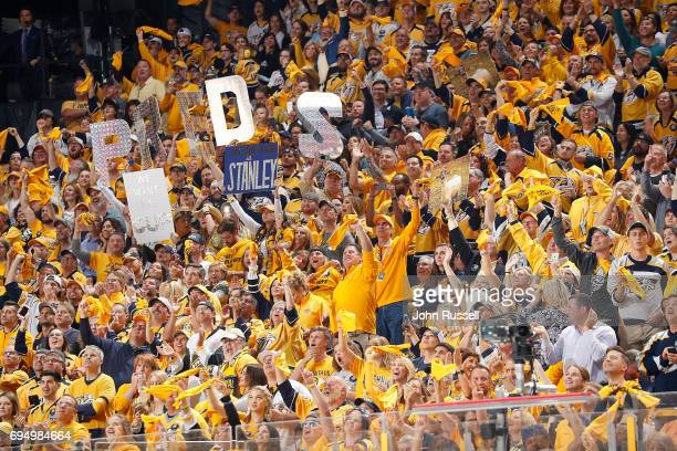 Predator fans cheer during Game Six of the 2017 NHL Stanley Cup Final at Bridgestone Arena on June 11 2017 in Nashville Tennessee