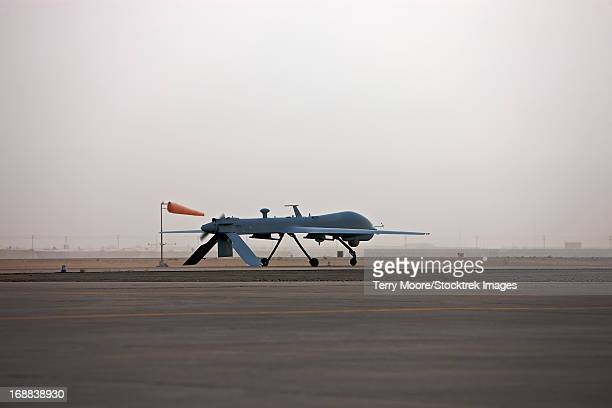 A MQ-1 Predator unmanned aerial vehicle taxiing at COB Speicher, Tikrit, Iraq, during Operation Iraqi Freedom.