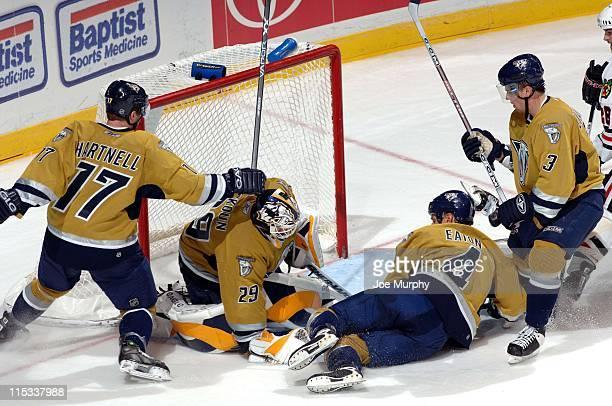Predators goalie Tomas Vokoun stops a shot in the third period. The Nashville Predators beat the Chicago Blackhawks 5-3 on October 25, 2005.