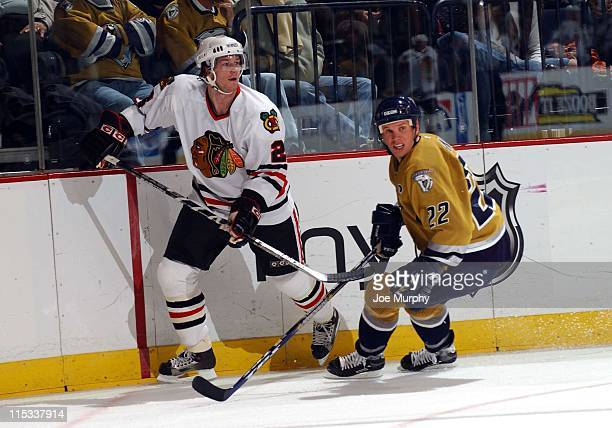 Predators Greg Johnson during the first period between the Chicago Blackhawks and the Nashville Predators on October 25, 2005.