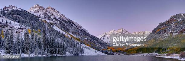 pre-dawn - maroon bells stock photos and pictures