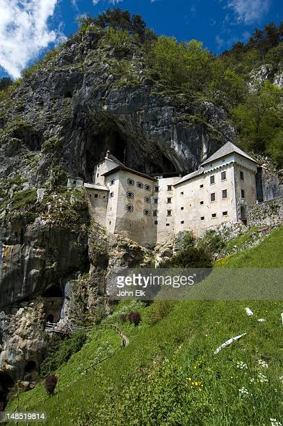 Predjama Castle built into cave on mountainside.